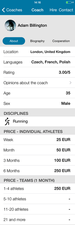 Sportovia Tutorial Coach Profile